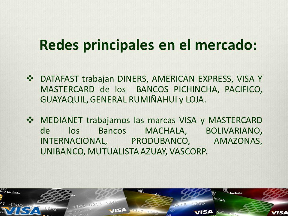 Redes principales en el mercado: DATAFAST trabajan DINERS, AMERICAN EXPRESS, VISA Y MASTERCARD de los BANCOS PICHINCHA, PACIFICO, GUAYAQUIL, GENERAL RUMIÑAHUI y LOJA.