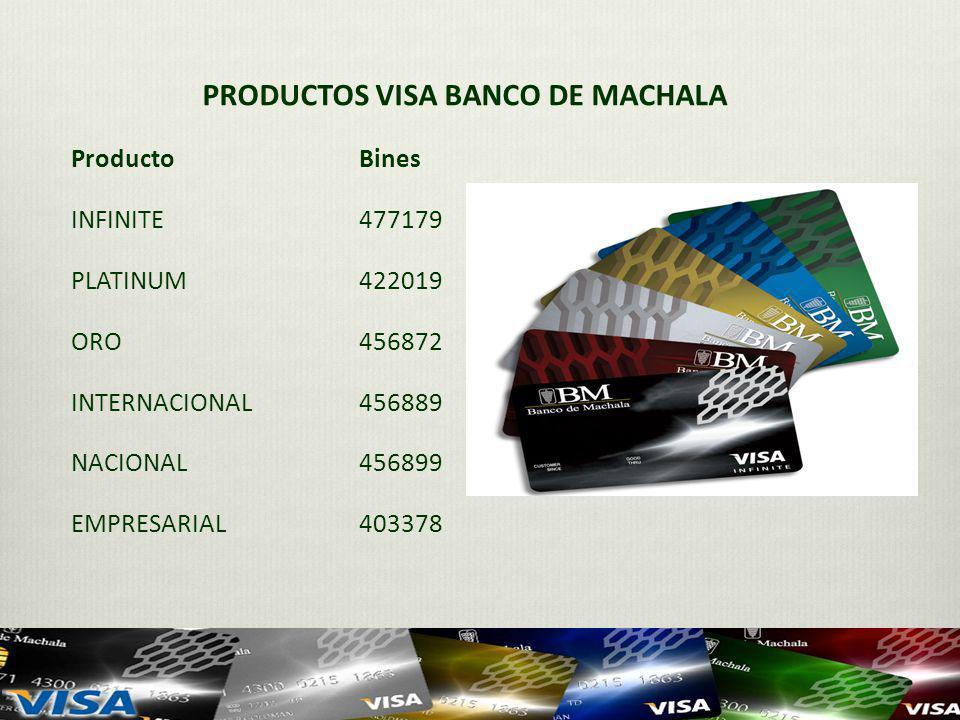 PRODUCTOS VISA BANCO DE MACHALA ProductoBines INFINITE477179 PLATINUM422019 ORO456872 INTERNACIONAL456889 NACIONAL456899 EMPRESARIAL 403378