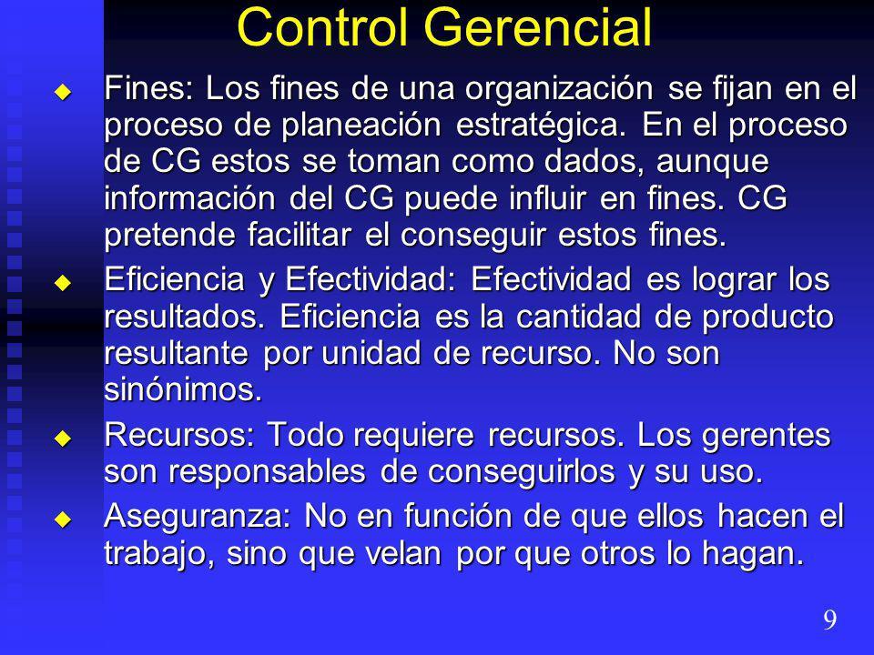 Control Gerencial Fines: Los fines de una organización se fijan en el proceso de planeación estratégica.