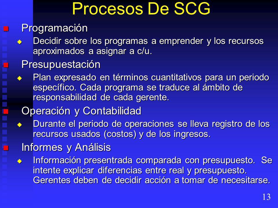 Procesos De SCG Programación Programación Decidir sobre los programas a emprender y los recursos aproximados a asignar a c/u.