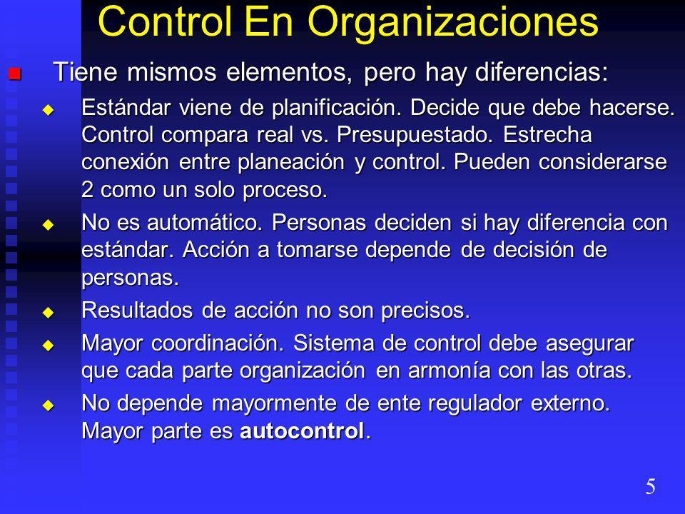 Control En Organizaciones Tiene mismos elementos, pero hay diferencias: Tiene mismos elementos, pero hay diferencias: Estándar viene de planificación.
