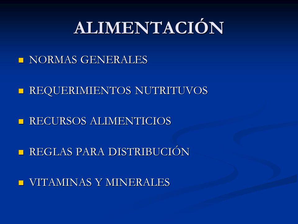 ALIMENTACIÓN NORMAS GENERALES NORMAS GENERALES REQUERIMIENTOS NUTRITUVOS REQUERIMIENTOS NUTRITUVOS RECURSOS ALIMENTICIOS RECURSOS ALIMENTICIOS REGLAS PARA DISTRIBUCIÓN REGLAS PARA DISTRIBUCIÓN VITAMINAS Y MINERALES VITAMINAS Y MINERALES