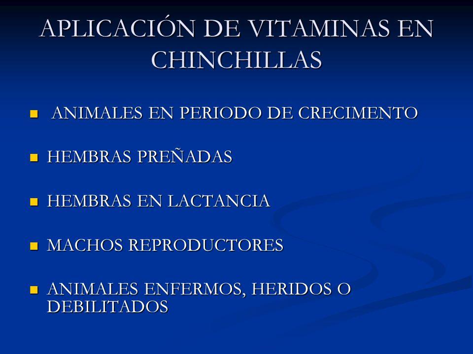 APLICACIÓN DE VITAMINAS EN CHINCHILLAS ANIMALES EN PERIODO DE CRECIMENTO ANIMALES EN PERIODO DE CRECIMENTO HEMBRAS PREÑADAS HEMBRAS PREÑADAS HEMBRAS EN LACTANCIA HEMBRAS EN LACTANCIA MACHOS REPRODUCTORES MACHOS REPRODUCTORES ANIMALES ENFERMOS, HERIDOS O DEBILITADOS ANIMALES ENFERMOS, HERIDOS O DEBILITADOS