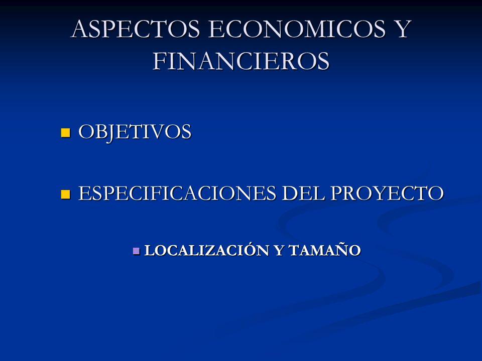 ASPECTOS ECONOMICOS Y FINANCIEROS OBJETIVOS OBJETIVOS ESPECIFICACIONES DEL PROYECTO ESPECIFICACIONES DEL PROYECTO LOCALIZACIÓN Y TAMAÑO LOCALIZACIÓN Y TAMAÑO
