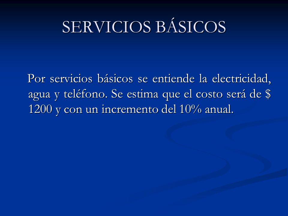 SERVICIOS BÁSICOS Por servicios básicos se entiende la electricidad, agua y teléfono.