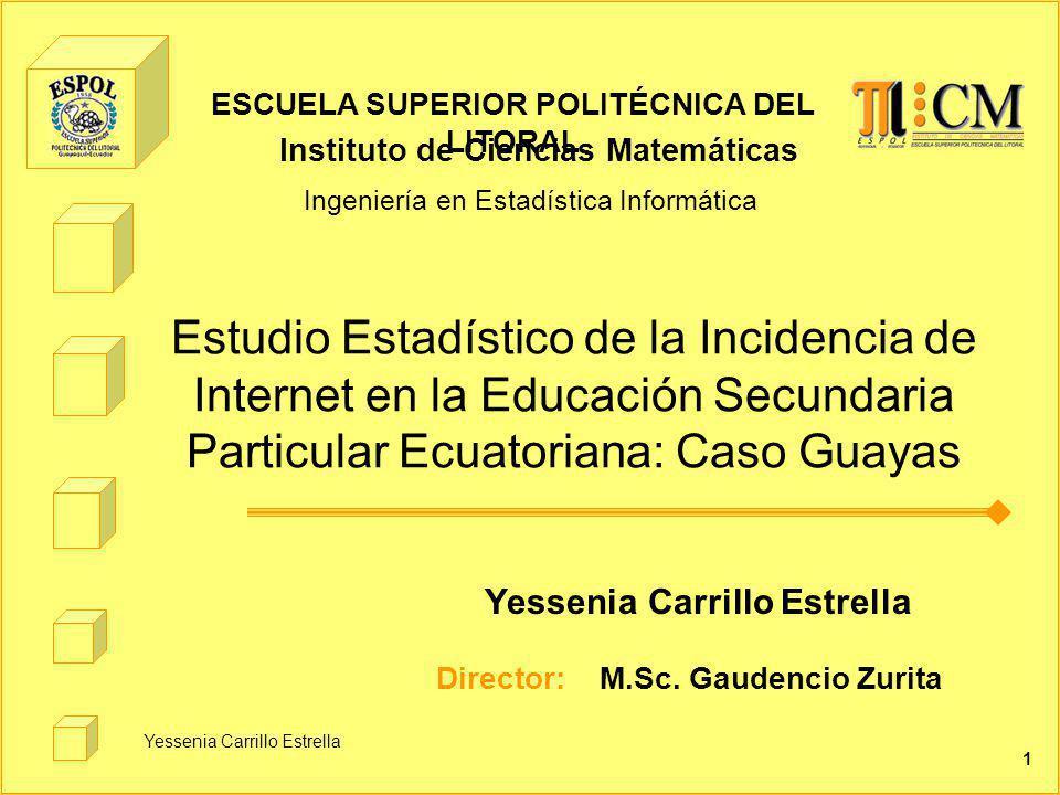 Yessenia Carrillo Estrella 1 Estudio Estadístico de la Incidencia de Internet en la Educación Secundaria Particular Ecuatoriana: Caso Guayas Yessenia Carrillo Estrella Director: M.Sc.