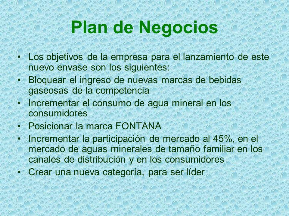 Plan de Negocios Los objetivos de la empresa para el lanzamiento de este nuevo envase son los siguientes: Bloquear el ingreso de nuevas marcas de bebi