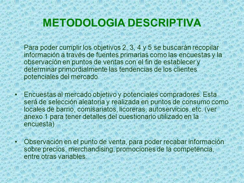 METODOLOGIA DESCRIPTIVA Para poder cumplir los objetivos 2, 3, 4 y 5 se buscarán recopilar información a través de fuentes primarias como las encuesta
