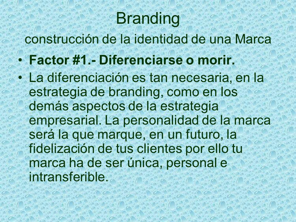 Branding construcción de la identidad de una Marca Factor #1.- Diferenciarse o morir. La diferenciación es tan necesaria, en la estrategia de branding