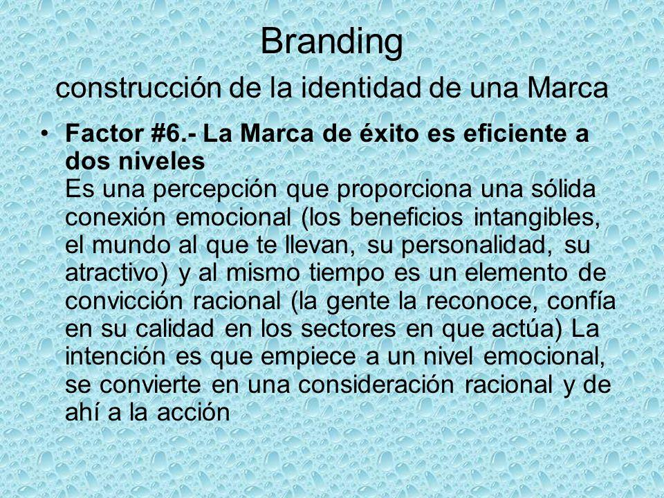 Branding construcción de la identidad de una Marca Factor #6.- La Marca de éxito es eficiente a dos niveles Es una percepción que proporciona una sóli