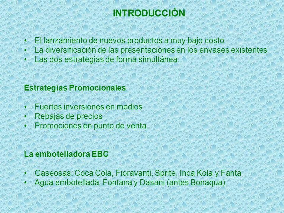INTRODUCCIÓN El lanzamiento de nuevos productos a muy bajo costo La diversificación de las presentaciones en los envases existentes Las dos estrategia