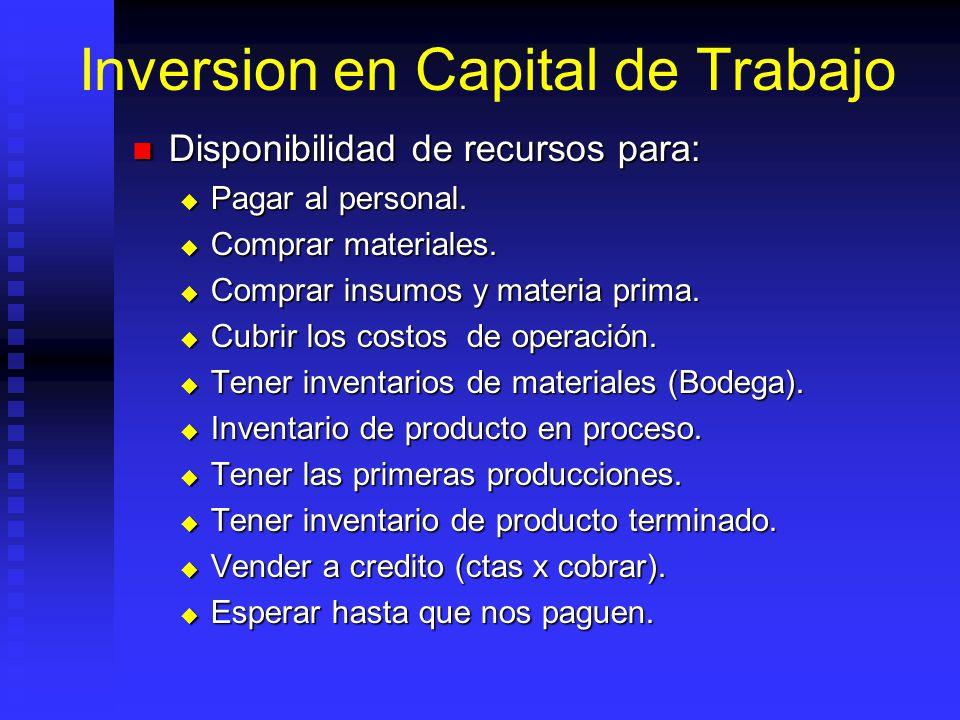Inversion en Capital de Trabajo Conjunto recursos necesarios, en forma de activos corrientes, para la operación normal del proyecto durante un ciclo productivo, para una capacidad y tamaño determinados.