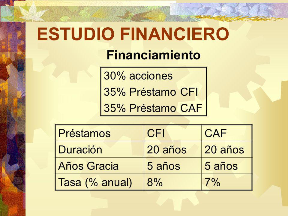 ESTUDIO FINANCIERO Financiamiento 30% acciones 35% Préstamo CFI 35% Préstamo CAF PréstamosCFICAF Duración20 años Años Gracia5 años Tasa (% anual)8%7%