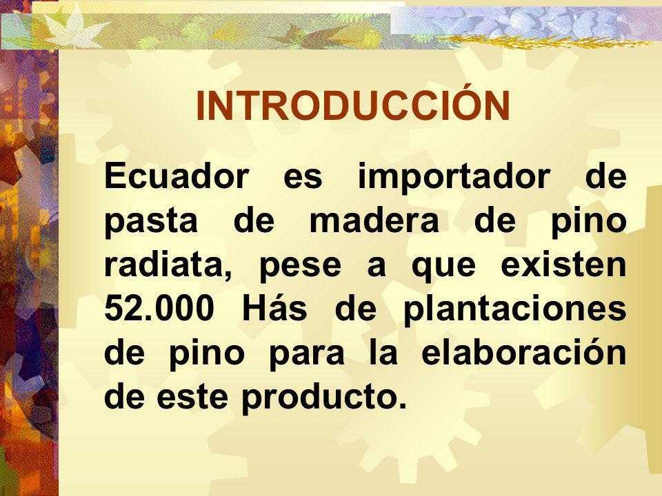 INTRODUCCIÓN Ecuador es importador de pasta de madera de pino radiata, pese a que existen 52.000 Hás de plantaciones de pino para la elaboración de este producto.