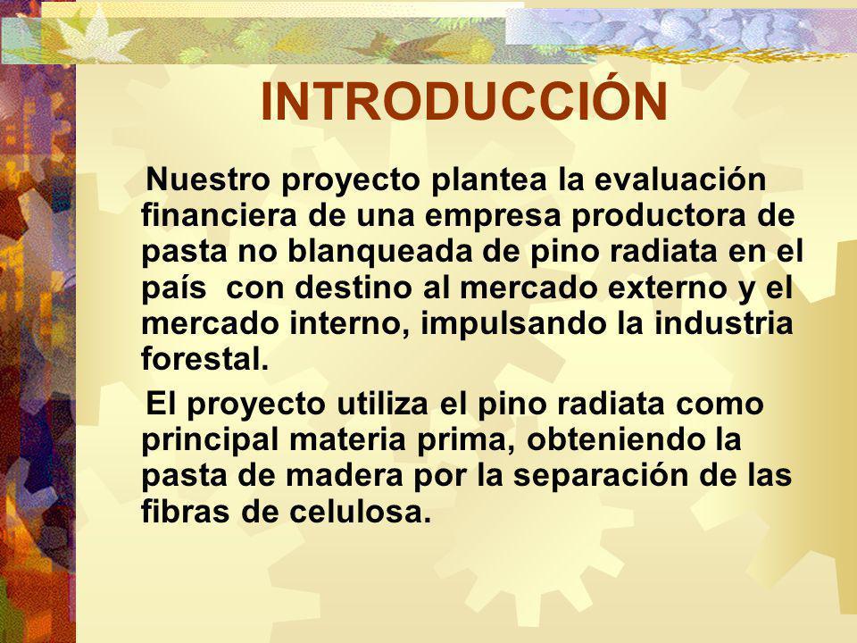 INTRODUCCIÓN Nuestro proyecto plantea la evaluación financiera de una empresa productora de pasta no blanqueada de pino radiata en el país con destino al mercado externo y el mercado interno, impulsando la industria forestal.