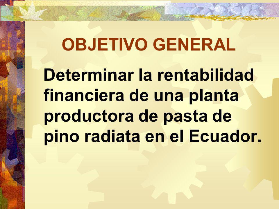 OBJETIVO GENERAL Determinar la rentabilidad financiera de una planta productora de pasta de pino radiata en el Ecuador.