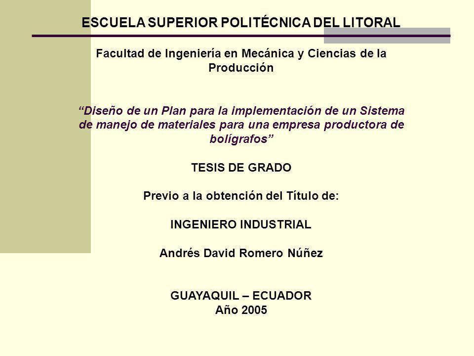ESCUELA SUPERIOR POLITÉCNICA DEL LITORAL Facultad de Ingeniería en Mecánica y Ciencias de la Producción Diseño de un Plan para la implementación de un