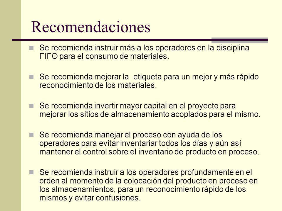 Recomendaciones Se recomienda instruir más a los operadores en la disciplina FIFO para el consumo de materiales. Se recomienda mejorar la etiqueta par