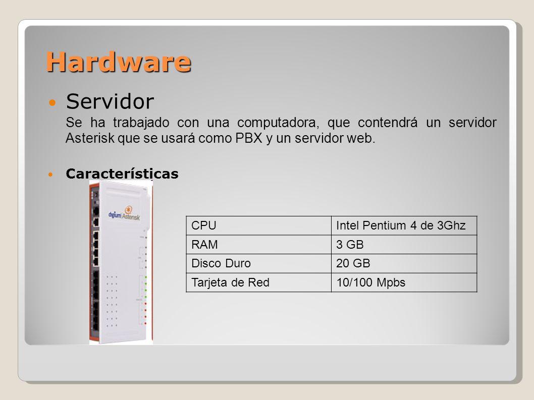 Hardware Servidor Se ha trabajado con una computadora, que contendrá un servidor Asterisk que se usará como PBX y un servidor web. Características CPU