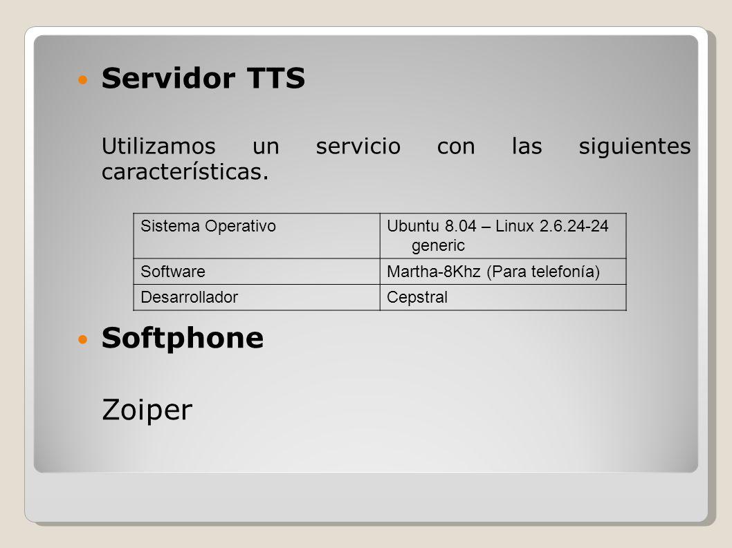 Servidor TTS Utilizamos un servicio con las siguientes características. Sistema OperativoUbuntu 8.04 – Linux 2.6.24-24 generic SoftwareMartha-8Khz (Pa