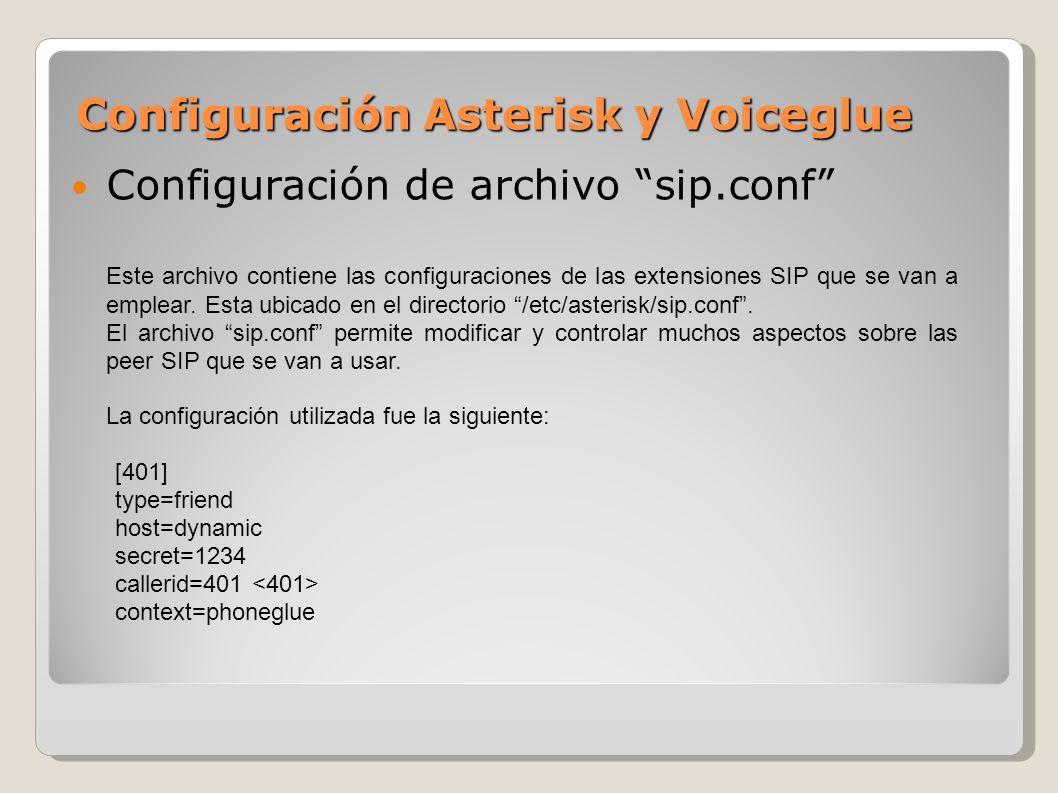 Configuración Asterisk y Voiceglue Configuración de archivo sip.conf Este archivo contiene las configuraciones de las extensiones SIP que se van a emp