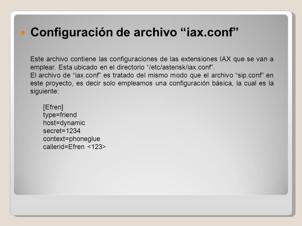 Configuración de archivo iax.conf Este archivo contiene las configuraciones de las extensiones IAX que se van a emplear. Esta ubicado en el directorio