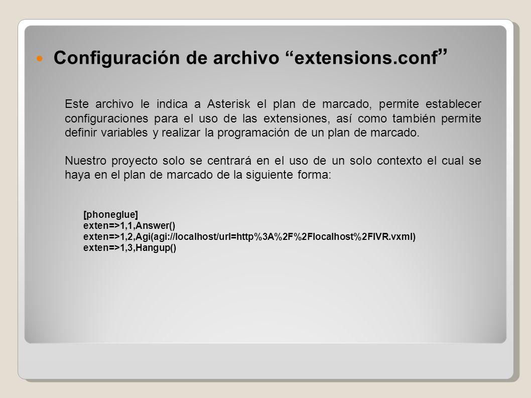 Configuración de archivo extensions.conf Este archivo le indica a Asterisk el plan de marcado, permite establecer configuraciones para el uso de las e