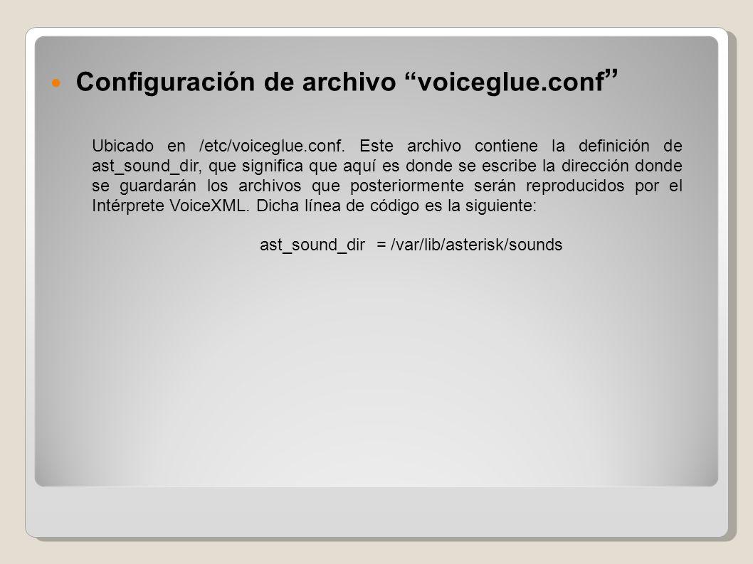Configuración de archivo voiceglue.conf Ubicado en /etc/voiceglue.conf. Este archivo contiene la definición de ast_sound_dir, que significa que aquí e