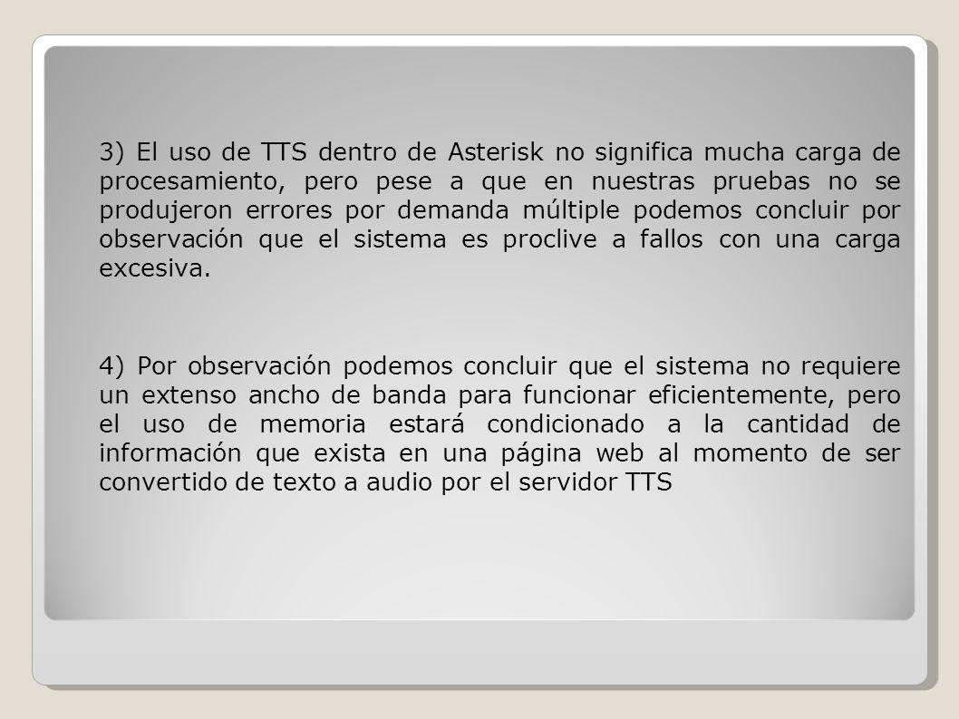 3) El uso de TTS dentro de Asterisk no significa mucha carga de procesamiento, pero pese a que en nuestras pruebas no se produjeron errores por demand