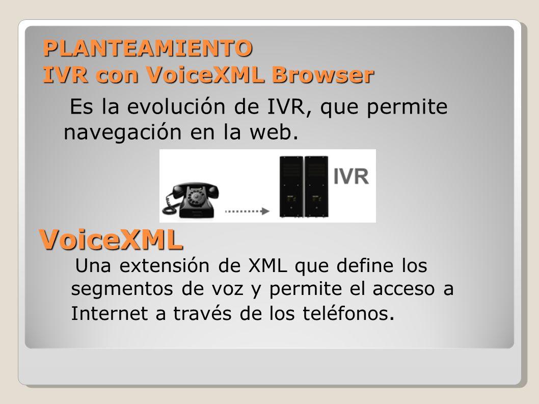 PLANTEAMIENTO IVR con VoiceXML Browser Es la evolución de IVR, que permite navegación en la web. VoiceXML Una extensión de XML que define los segmento