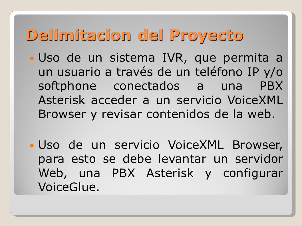 Delimitacion del Proyecto Uso de un sistema IVR, que permita a un usuario a través de un teléfono IP y/o softphone conectados a una PBX Asterisk acced