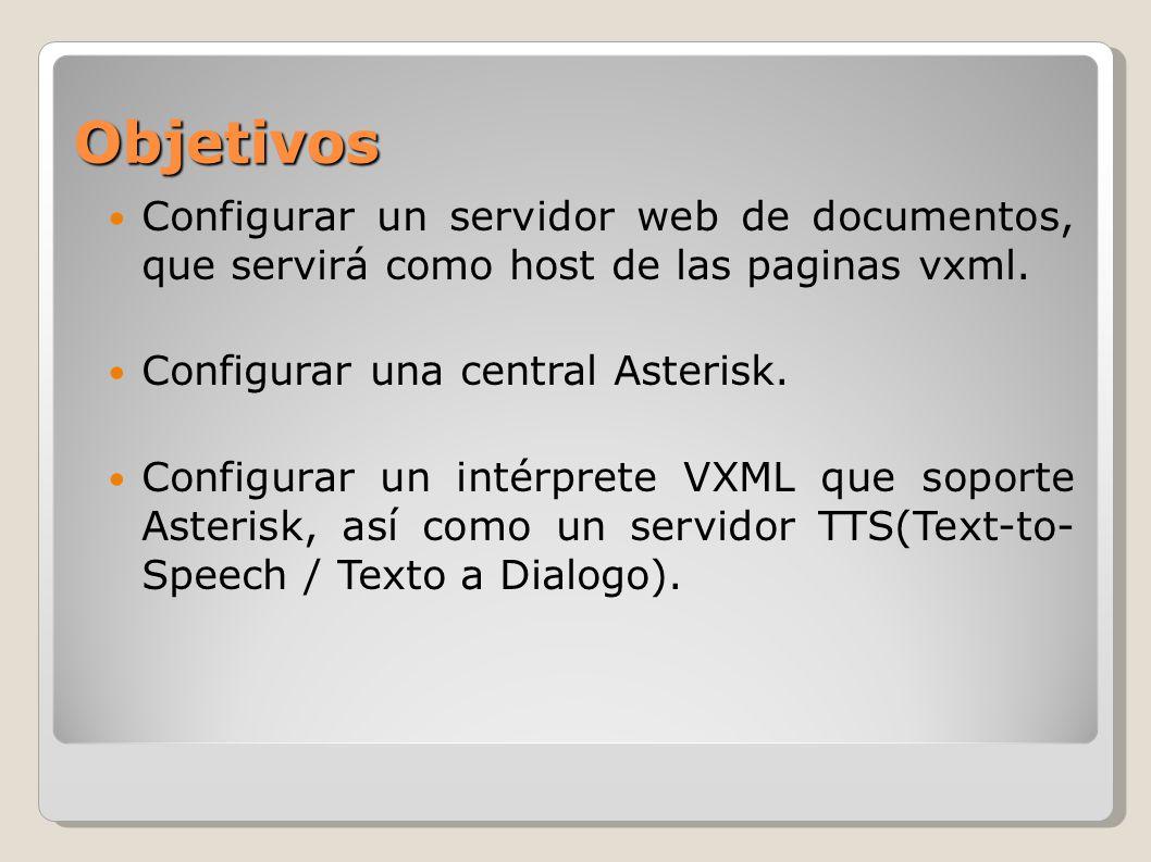 Objetivos Configurar un servidor web de documentos, que servirá como host de las paginas vxml. Configurar una central Asterisk. Configurar un intérpre