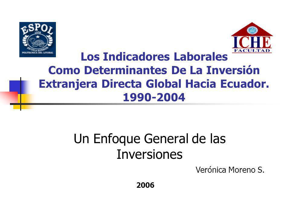 Los Indicadores Laborales Como Determinantes De La Inversión Extranjera Directa Global Hacia Ecuador. 1990-2004 Un Enfoque General de las Inversiones