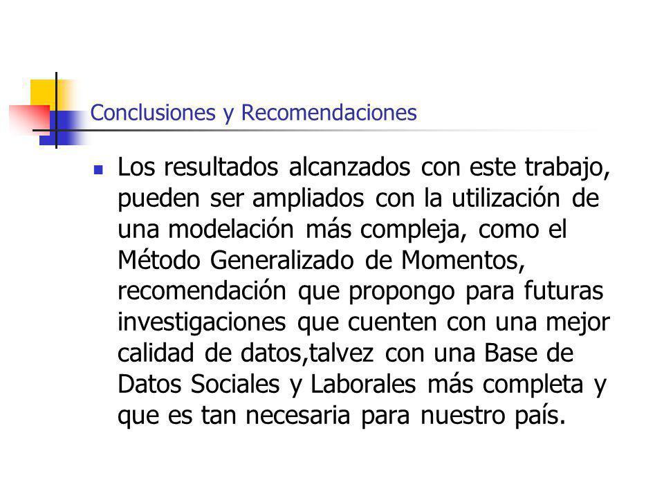 Conclusiones y Recomendaciones Los resultados alcanzados con este trabajo, pueden ser ampliados con la utilización de una modelación más compleja, com
