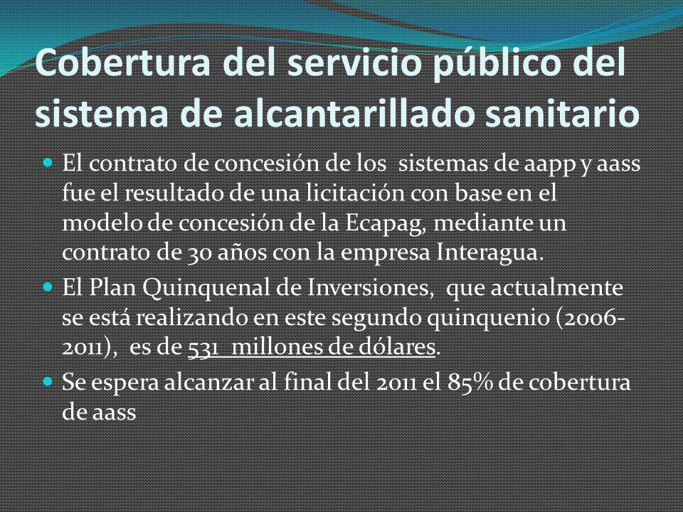 Cobertura del servicio público del sistema de alcantarillado sanitario El contrato de concesión de los sistemas de aapp y aass fue el resultado de una licitación con base en el modelo de concesión de la Ecapag, mediante un contrato de 30 años con la empresa Interagua.