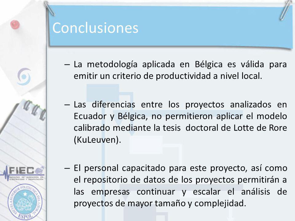 Conclusiones – La metodología aplicada en Bélgica es válida para emitir un criterio de productividad a nivel local. – Las diferencias entre los proyec