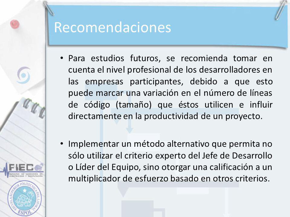 Recomendaciones Para estudios futuros, se recomienda tomar en cuenta el nivel profesional de los desarrolladores en las empresas participantes, debido