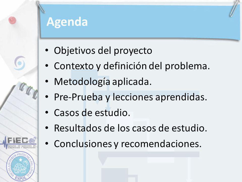 Agenda Objetivos del proyecto Contexto y definición del problema. Metodología aplicada. Pre-Prueba y lecciones aprendidas. Casos de estudio. Resultado