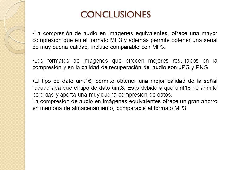 La compresión de audio en imágenes equivalentes, ofrece una mayor compresión que en el formato MP3 y además permite obtener una señal de muy buena cal