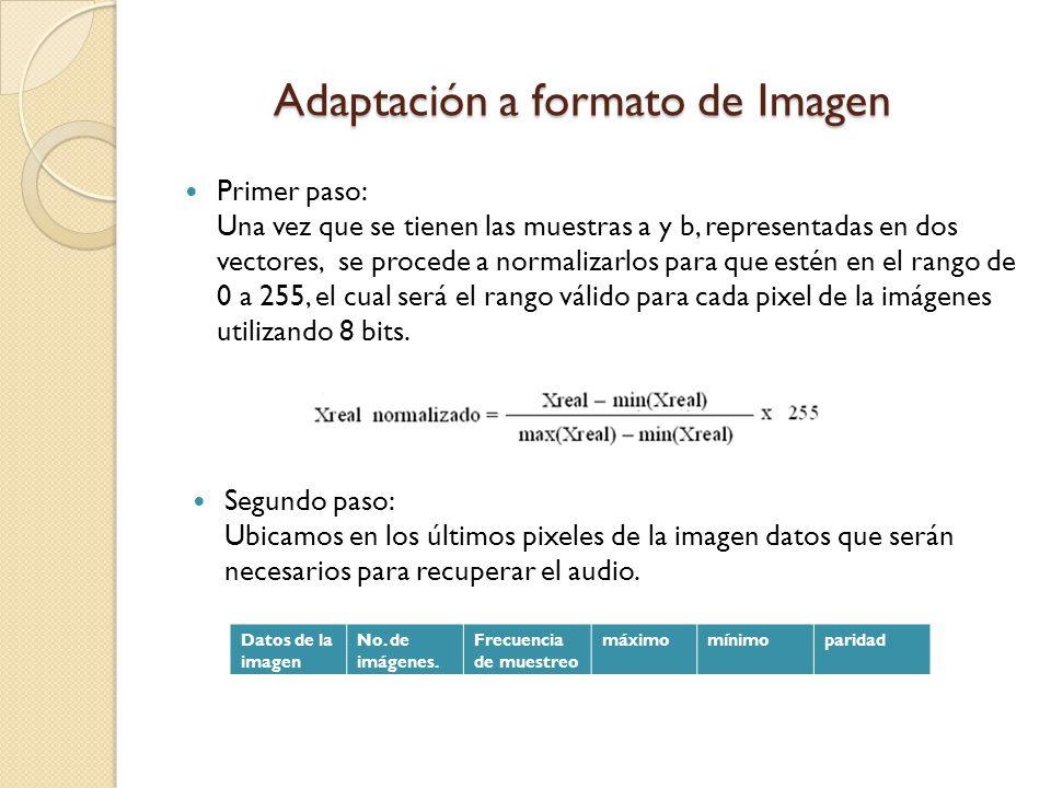 Adaptación a formato de Imagen Primer paso: Una vez que se tienen las muestras a y b, representadas en dos vectores, se procede a normalizarlos para q