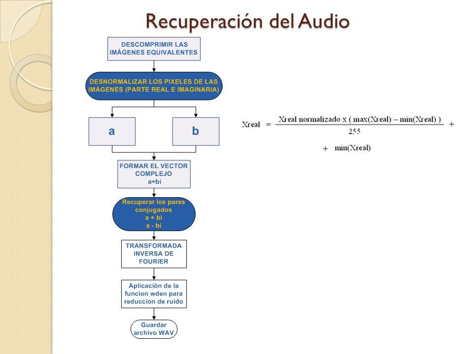 Las recomendaciones son: Se recomienda el uso de los filtros de Wavelet que ofrece MATLAB para la reducción del ruido en las señales de audio que se recuperan a partir de las imágenes, y así obtener una mejor calidad de sonido.