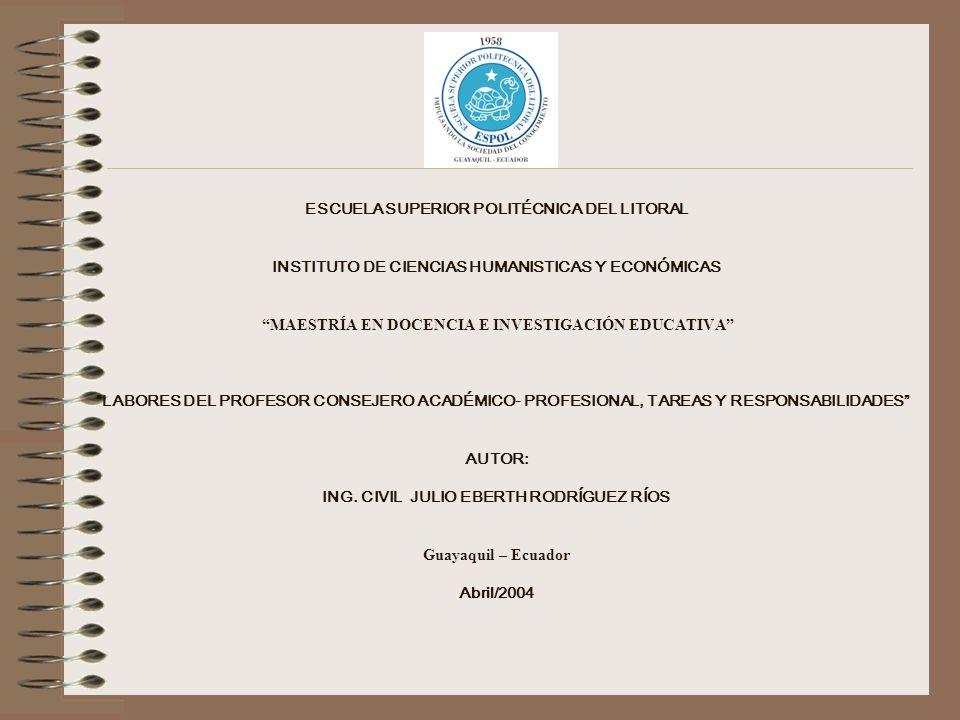 ESCUELA SUPERIOR POLITÉCNICA DEL LITORAL INSTITUTO DE CIENCIAS HUMANISTICAS Y ECONÓMICAS MAESTRÍA EN DOCENCIA E INVESTIGACIÓN EDUCATIVA LABORES DEL PROFESOR CONSEJERO ACADÉMICO- PROFESIONAL, TAREAS Y RESPONSABILIDADES AUTOR: ING.