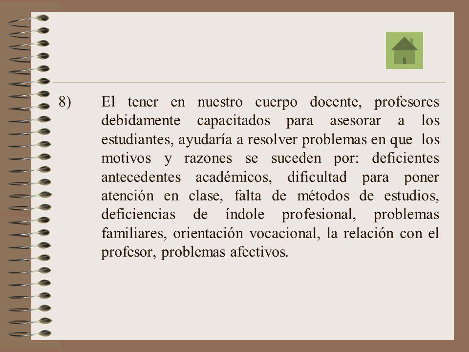7)Se requiere, para el planeamiento estratégico de implementación de la consejería, ejecutar extensivamente un estudio basado en el análisis Foda = Fortalezas, Oportunidades, Debilidades y Amenazas.