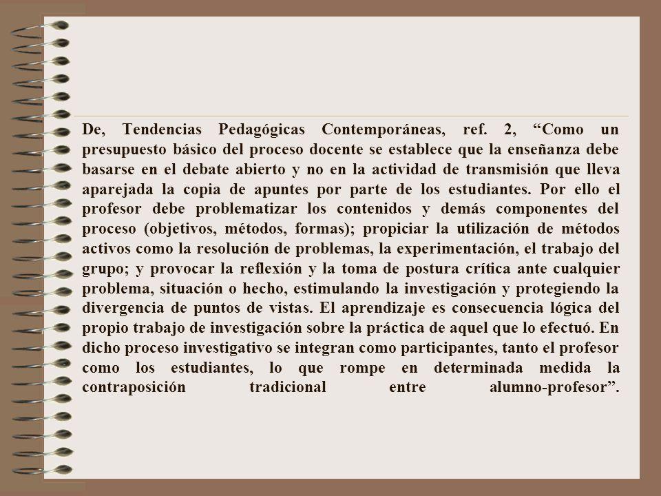 De, Tendencias Pedagógicas Contemporáneas, ref.