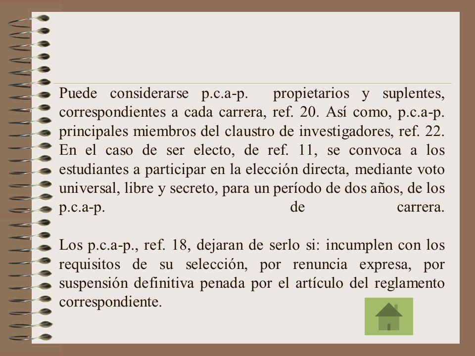 Para ser electo o designado p.c.a-p., se propone: a) Ser profesor a tiempo completo y de categoría agregado; b) Tener una antigüedad mínima de cuatro