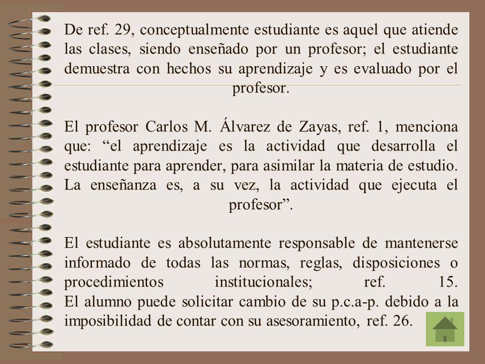 El p.c.a-p. puede ser bilingüe (español/inglés), ref. 9. Si el estudiante desea saber quien es su p.c.a-p., deberá consultar la lista respectiva, ref.
