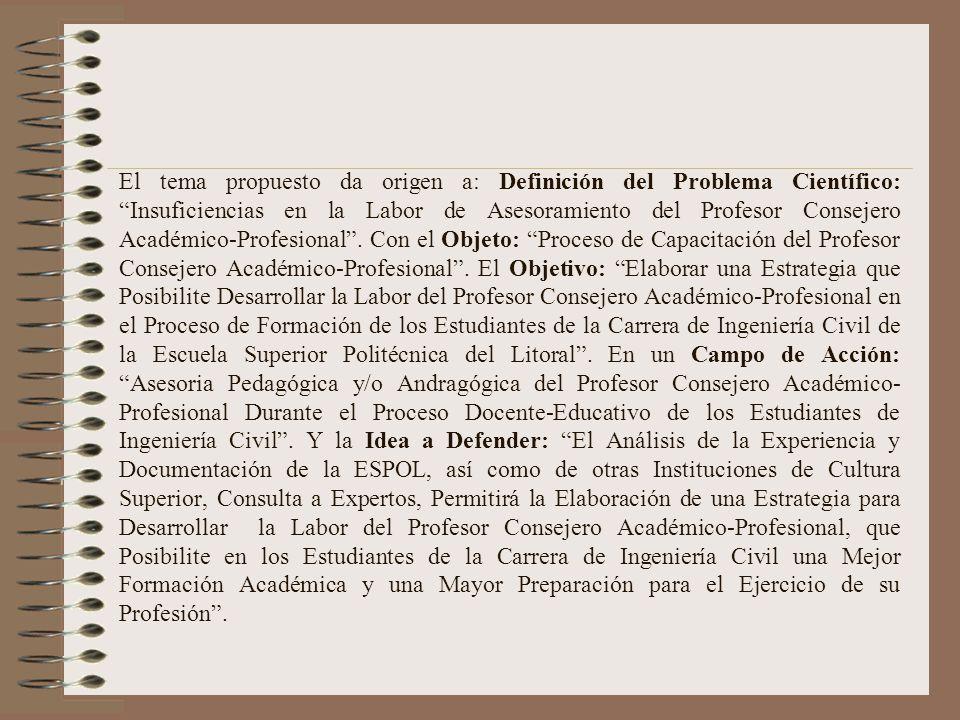 La actividad del Consejero Académico reglamentada en la ESPOL, no se realiza en todas las unidades con la intensidad que la importancia amerita. Es ne