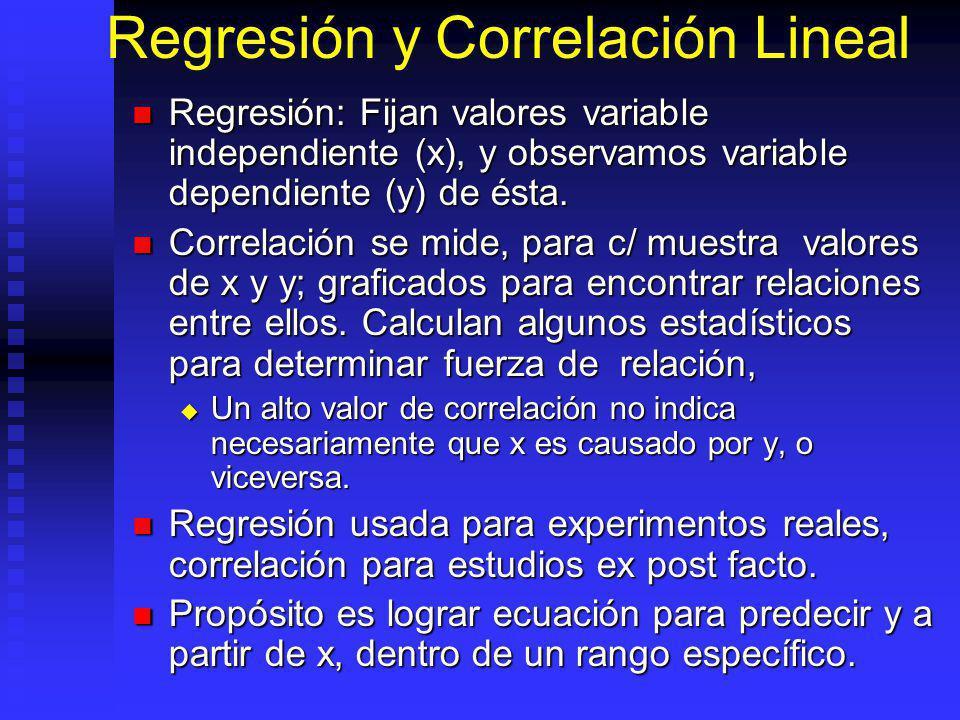 Regresión y Correlación Lineal Regresión: Fijan valores variable independiente (x), y observamos variable dependiente (y) de ésta.