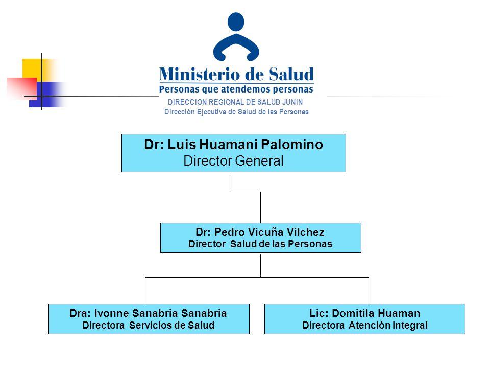 DIRECCION REGIONAL DE SALUD JUNIN Dirección Ejecutiva de Salud de las Personas Dr: Luis Huamani Palomino Director General Dr: Pedro Vicuña Vilchez Dir