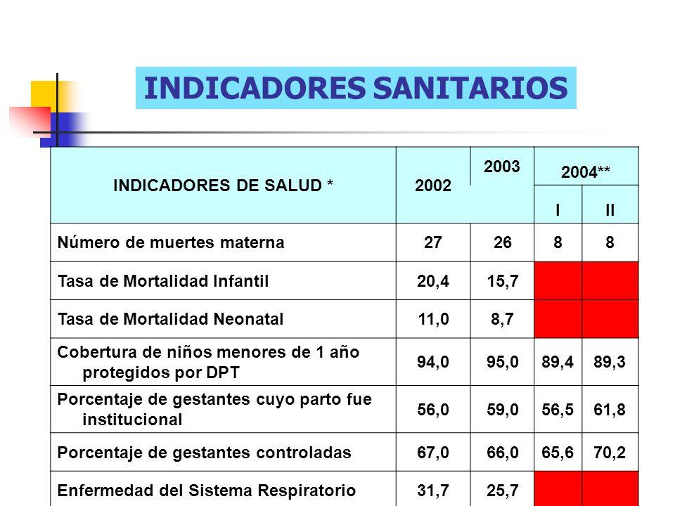INDICADORES SANITARIOS INDICADORES DE SALUD *2002 2003 2004** III Número de muertes materna272688 Tasa de Mortalidad Infantil20,415,7 Tasa de Mortalid